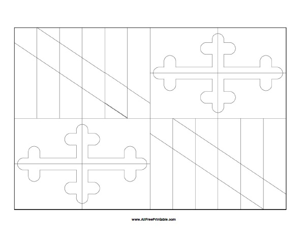 Free Printable Maryland Flag Coloring Page