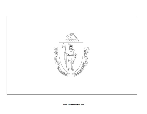 Free Printable Massachusetts Flag Coloring Page