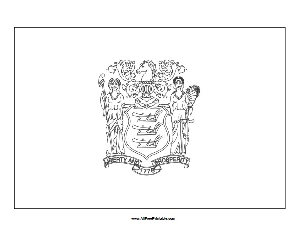Free Printable New Jersey Flag Coloring Page