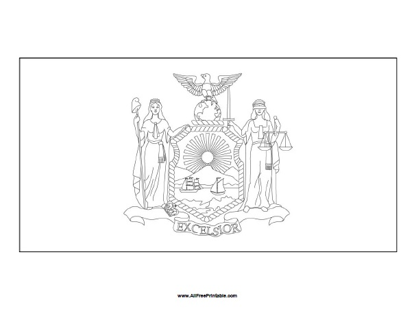 Free Printable New York Flag Coloring Page