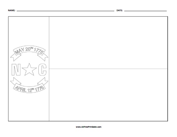 Free Printable North Carolina Flag Coloring Page
