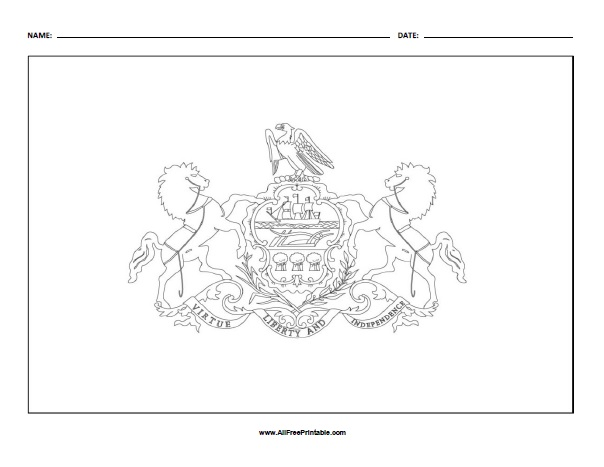 Free Printable Pennsylvania Flag Coloring Page