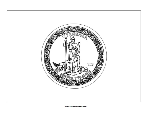 Free Printable Virginia Flag Coloring Page