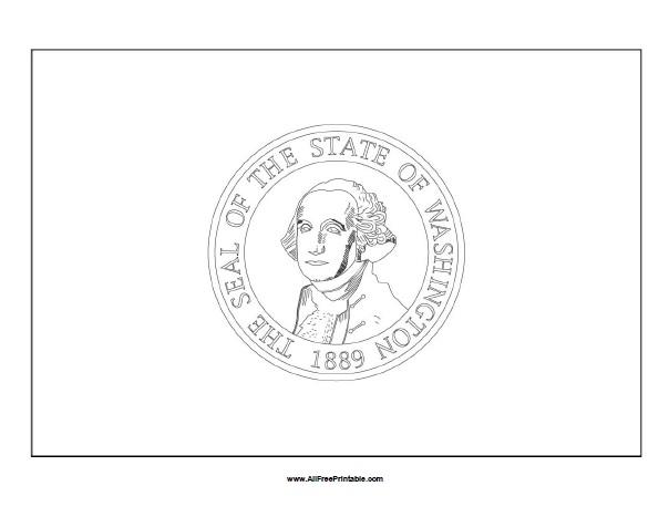 Free Printable Washington Flag Coloring Page