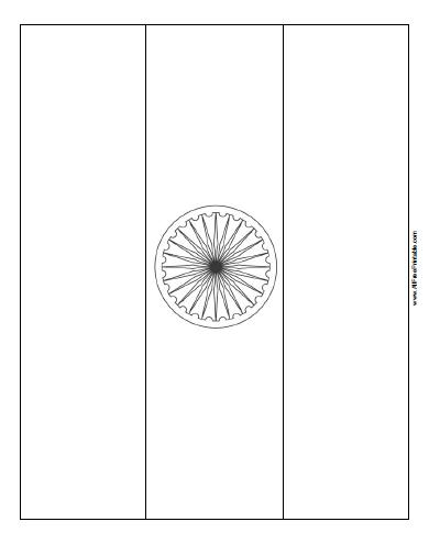 Free Printable India Flag Coloring Page