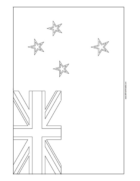 Free Printable New Zealand Flag Coloring Page