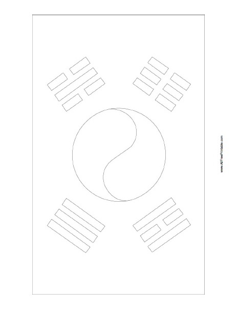 Free Printable South Korea Flag Coloring Page