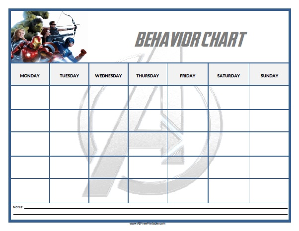 photo about Free Printable Behavior Charts named Avengers Behaviors Chart - Free of charge Printable -