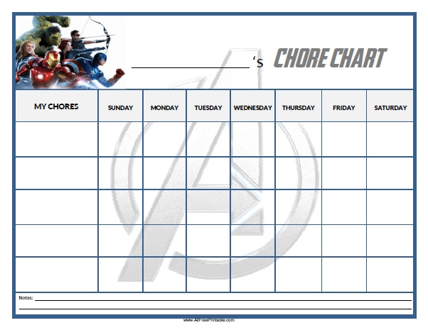 image relating to Chore Chart Printable Free named Avengers Chore Chart - Totally free Printable -