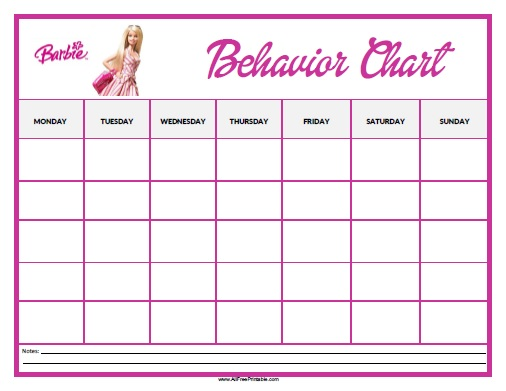 Barbie Behavior Chart  Free Printable  AllfreeprintableCom