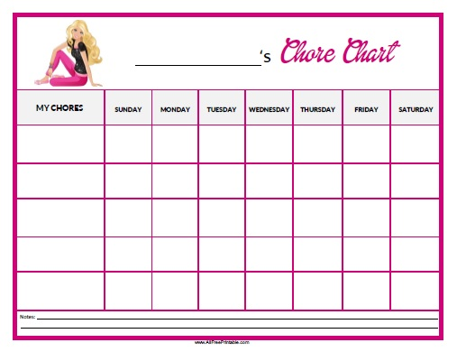 Free Printable Barbie Chore Chart