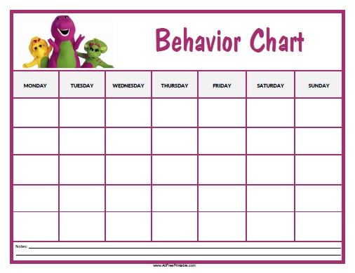 Barney Behavior Chart  Free Printable  AllfreeprintableCom