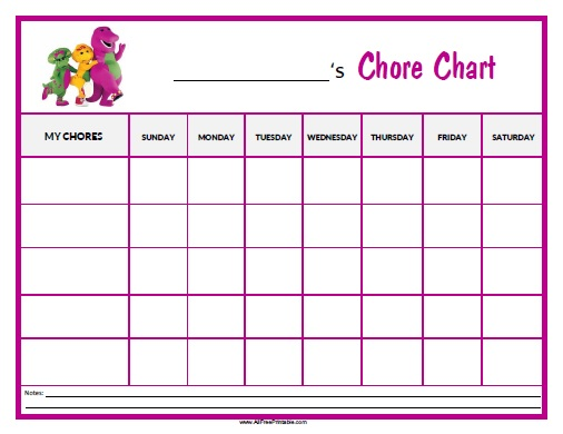 Free Printable Barney Chore Chart