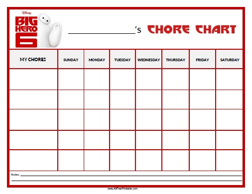 Free Printable Big Hero 6 Chore Chart