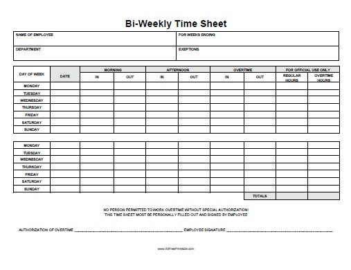 Biweekly Time Sheet - Free Printable - Allfreeprintable.Com