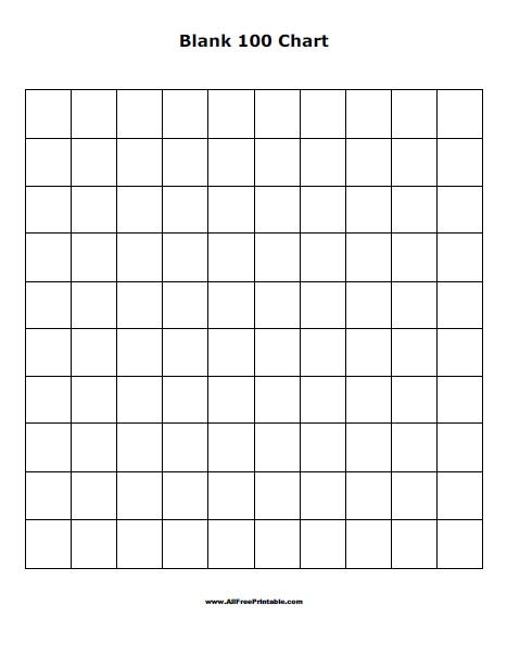 Free Printable Blank 100 Chart