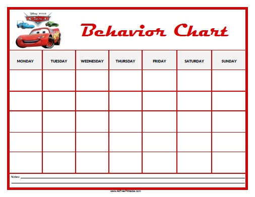 Cars Behavior Chart  Free Printable  AllfreeprintableCom