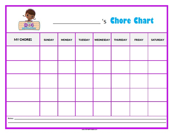 Free Printable Doc McStuffins Chore Chart