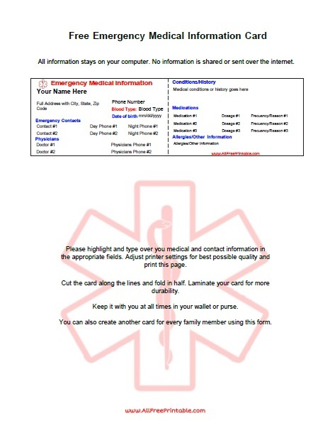 Free Printable Emergency Medical Information Card