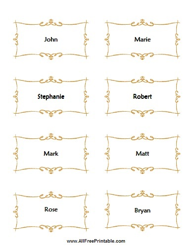 printable placecards templates free - Folded Place Cards