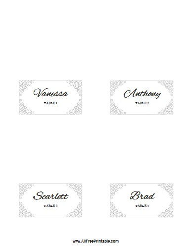 Free Printable Folded Place Card Template for Wedding