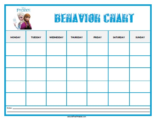Frozen Behavior Chart - Free Printable - AllFreePrintable.com