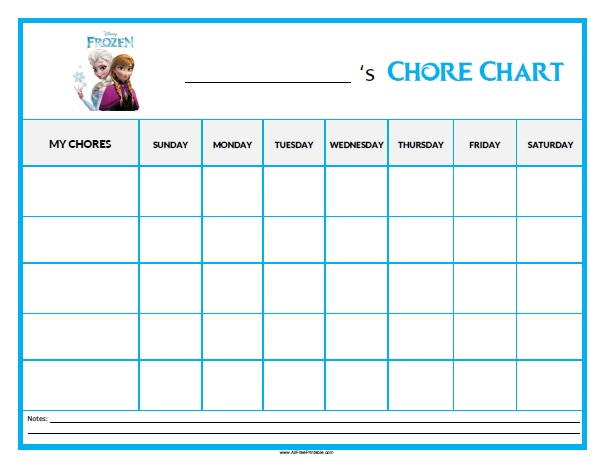 photograph about Chore Chart Printable Free titled Frozen Chore Chart - No cost Printable -