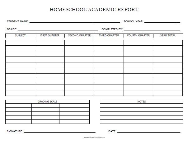 Free Printable Homeschool Academic Report