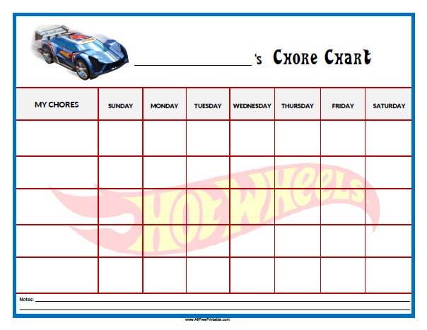 Free Printable Hot Wheels Chore Chart