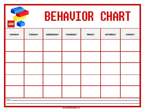 photo regarding Free Printable Behavior Charts titled Lego Habits Chart - Cost-free Printable -