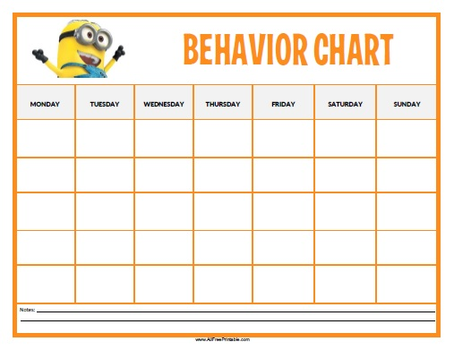 Minions behavior chart free printable for Behavior charts for preschoolers template
