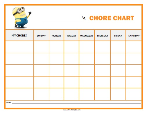 picture relating to Printable Job Chart named Minions Chore Chart - Free of charge Printable -