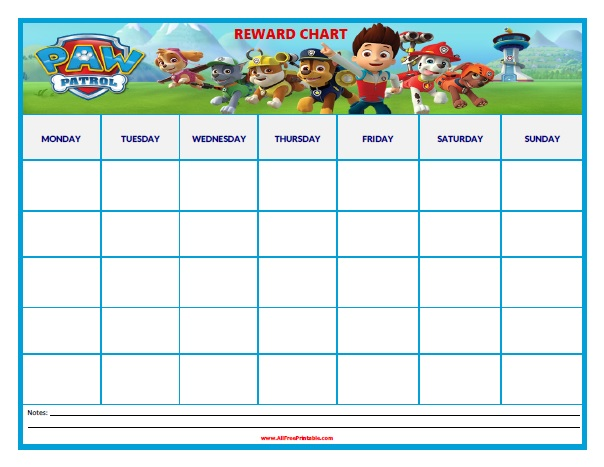 Free Printable Paw Patrol Reward Chart