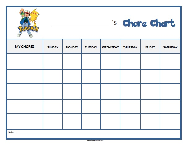 photo about Chore Chart Printable Free titled Pokemon Chore Chart - Free of charge Printable -