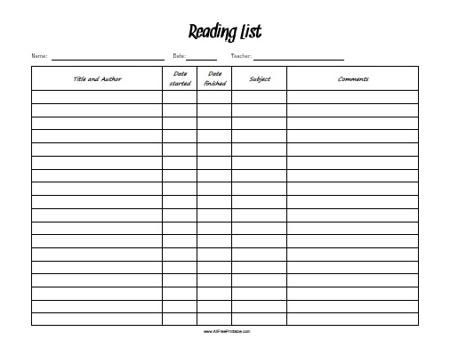 Free Printable Reading List
