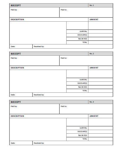 Receipt Template Free Printable AllFreePrintable – Receipt Forms
