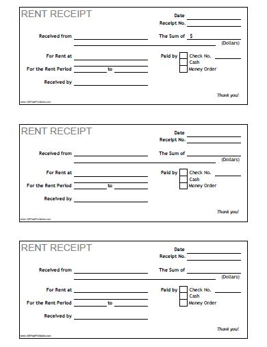 Lease Receipt Template Rent Receipt Free Printable