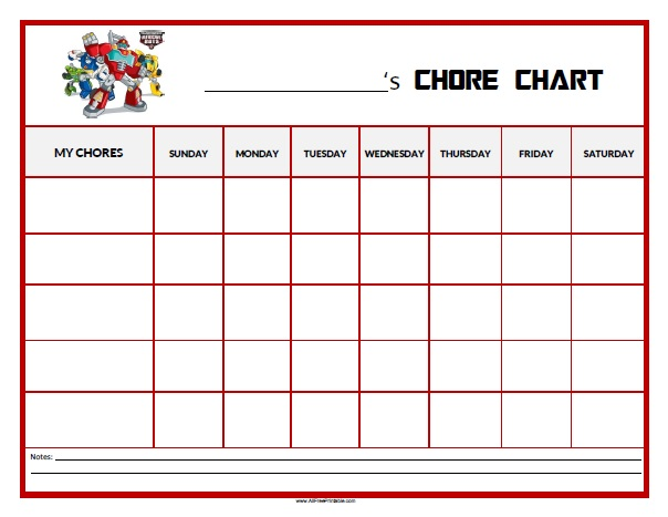Free Printable Rescue Bots Chore Chart