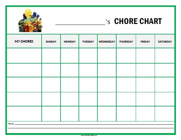 Sesame Street Chore Chart  Free Printable  AllfreeprintableCom