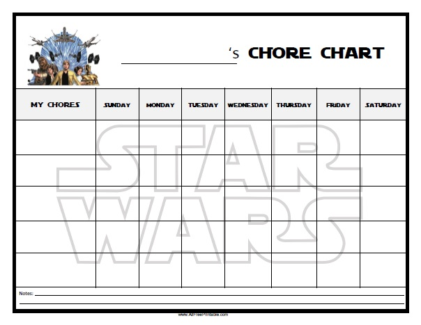 Free Printable Star Wars Chore Chart