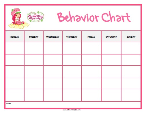 photo about Free Printable Behavior Charts named Strawberry Shortcake Habits Chart - Free of charge Printable