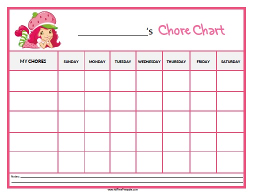 Free Printable Strawberry Shortcake Chore Chart