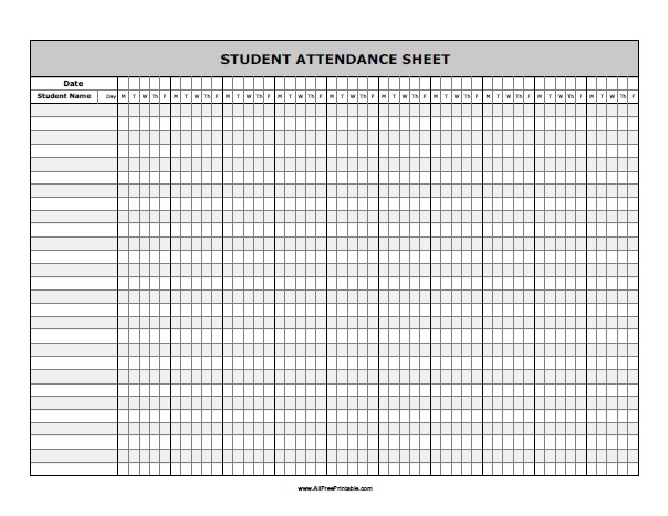 Free Printable Student Attendance Sheet