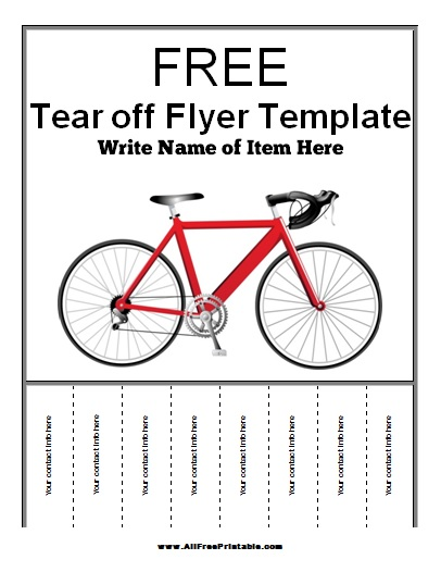 picture about Free Printable Gear Template titled Tear Off Flyer Template - Totally free Printable -
