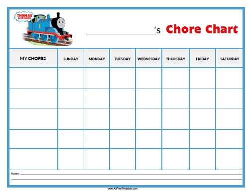 Free Printable Thomas Tank Engine Chore Chart