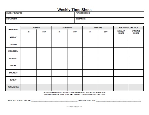 If you created you own Word Printable Time Sheet and have a table that goes all the way to the bottom of the page, the empty paragraph will be pushed onto the next page. A blank page will print every time you print your Timesheet Template.