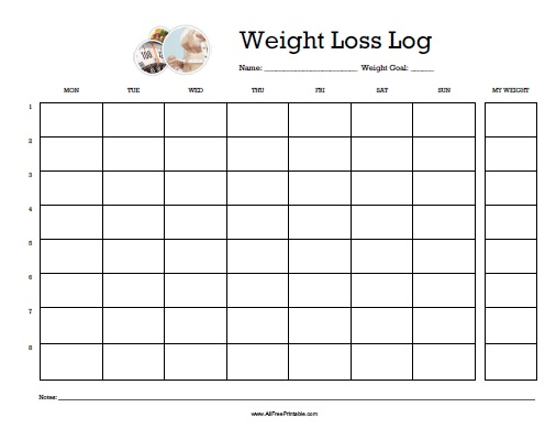 photograph regarding Printable Weight Loss Journal known as Body weight Decline Log - No cost Printable -