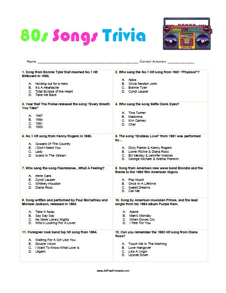 picture relating to Autumn Trivia for Seniors Printable known as 80s New music Trivia - Cost-free Printable -
