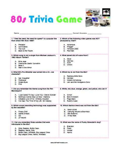 graphic about Printable Trivia Questions titled 80s Trivia Activity - No cost Printable -