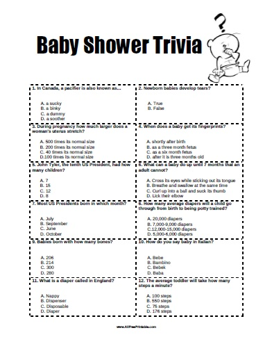 Free Printable Baby Shower Trivia Game